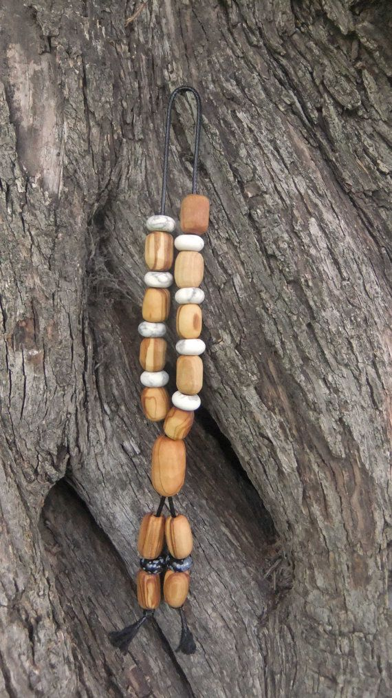 Olive Wood Worry Beads or Komboloi with White by ellenisworkshop