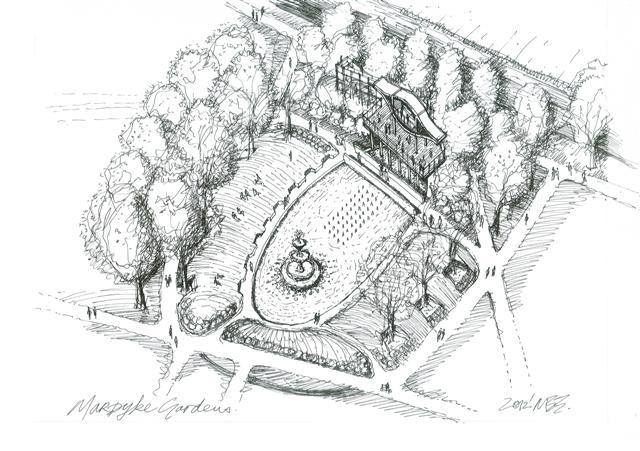 Sketch design proposals for alterations to Fitzgerald Park, Cork by Hugodesign