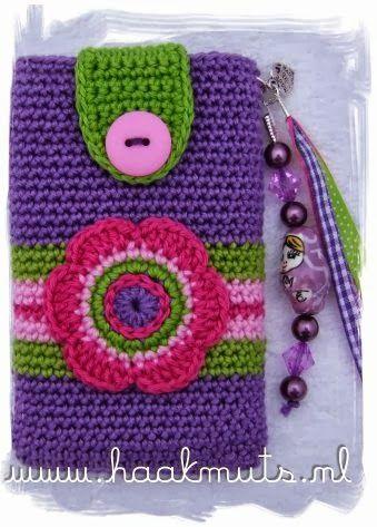 Mani ingegnosi Knitting Archive: Viola Telefono Caso della maglia del Fiore modello modello