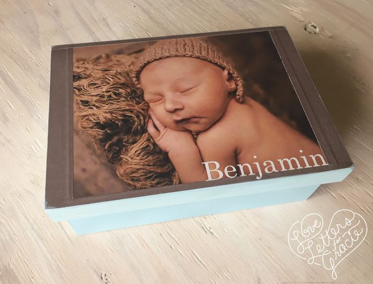 Memory Box with Photo - Memory Box - Baby Photo Box - Baby Memory Box  - Photo Storage - Keepsake Box, - Baby Boy Photo Box - Newborn Photo by LoveLettersForGracie on Etsy https://www.etsy.com/listing/106095985/memory-box-with-photo-memory-box-baby
