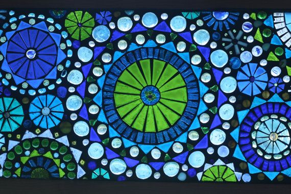 Mediterranean Dreams Number Two Glass on Glass Mosaic Window Panel Shades of Blues and Greens Circle Pattern. $250.00, via Etsy.