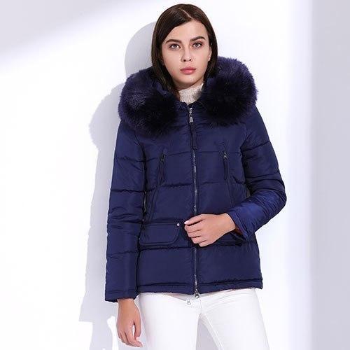 Winter Women'S Jacket Fur Down Cotton Coats Plus Size Hooded Parka Short Slim Warm Big Fur Jackets Coat Navy Blue M 2