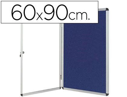 Vitrina para anuncios en fieltro azul de 60 x 90 cm. ¡Oferta!