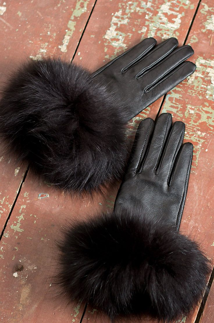 Driving gloves london ontario - Women S Touch Tech Lambskin Leather Gloves With Fox Fur Trim These Are Sooooo Luxurious With