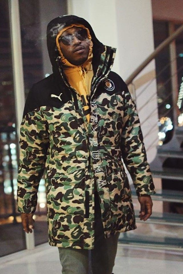 Future (Rapper) wearing Bape x Puma Long Coat, VFiles Nasa Hoodie