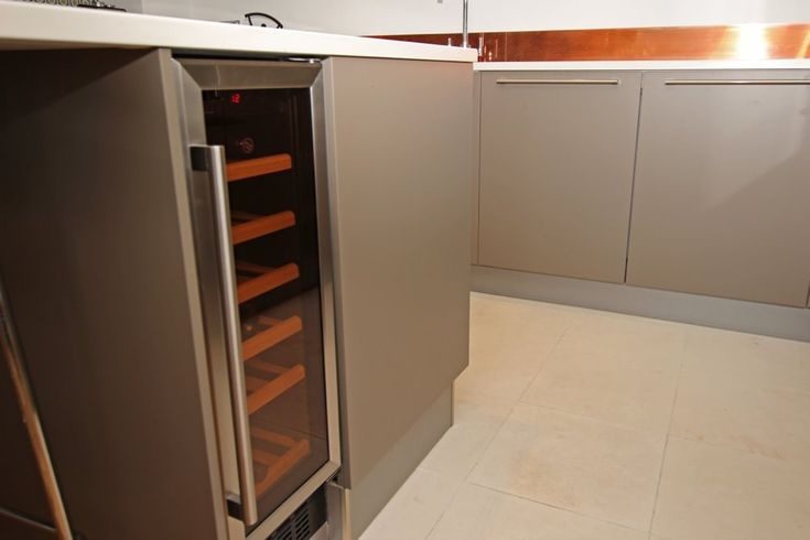 Kitchen island with integrated wine cooler