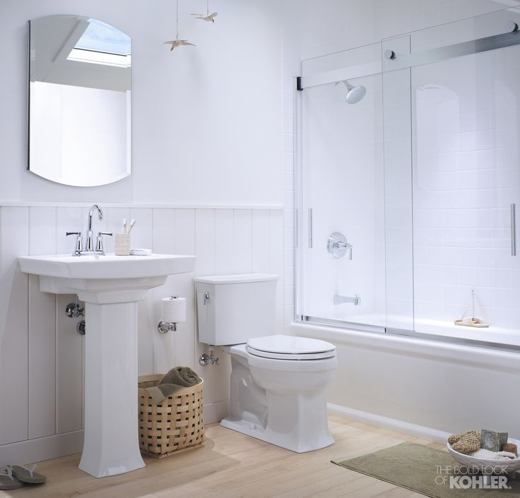 Petite Cottage Bathroom Featuring Kohler Archer Collection Home Decor