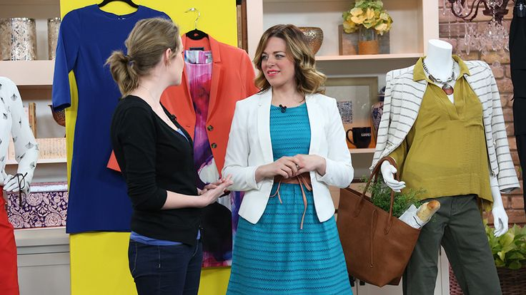 The Marilyn Denis Show | Everyday Style Makeover 1) jean jacket, pencil jersey skirt, nude bootie, floaty tee in front tee in back with small pattern. 2) structured jacket, colourful floaty silky tee, dark green silky cargo pant, nude wedge.