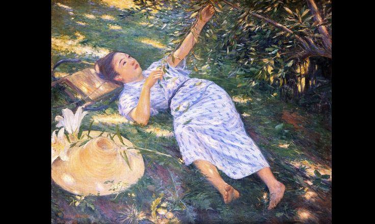 Seiki Kuroda Sous les arbres, Juillet 1898, huile sur toile, 75 X 94 cm, Coll. particulière. Kuroda est l'un des  premiers artistes japonais à s'inspirer de la peinture occidentale suite à un séjour en France à la fin du XIX ème siècle.