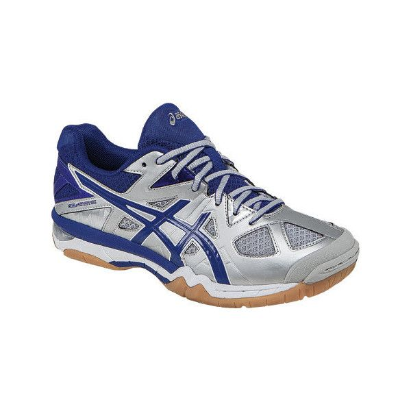Women's ASICS GEL-Tactic Volleyball Shoe - Silver/Royal/White Athletic ($95