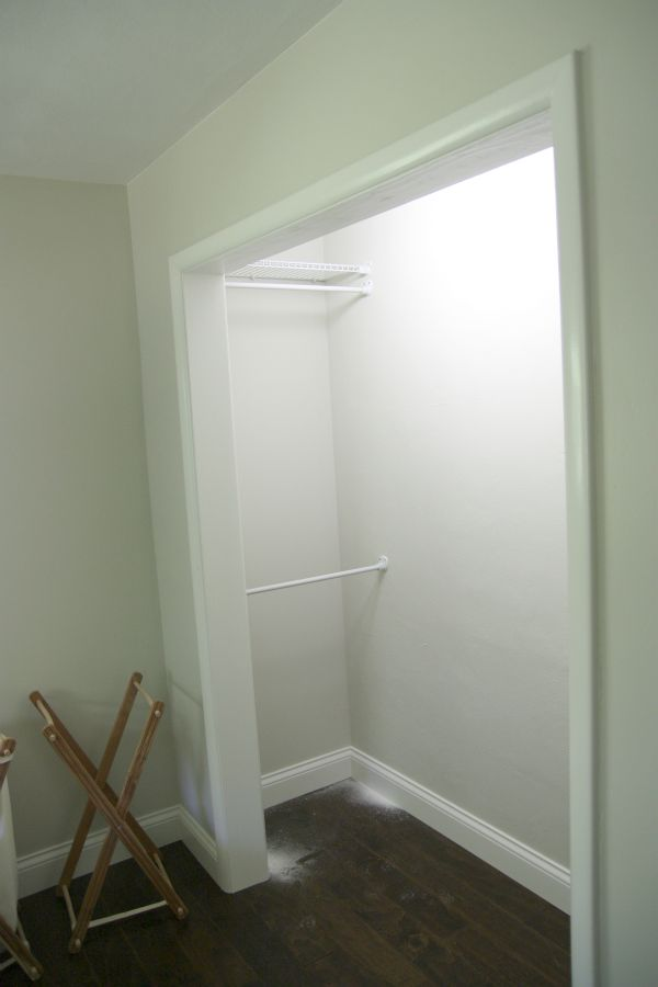 Good idea for reach-in closets! Put up closet rods on the sides if you tend to have access issues. I just did this to my own closet today. Now I can see my dresses in that corner! I also raised the regular bar by a foot to maximize vertical space!  (Not pictured here.) Happy closet day to me!  = )