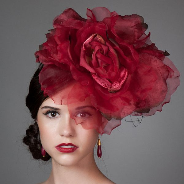 Silk Rose Flower Fascinator. Kentucky Derby Hat in Red. Red Rose... ($168) via Polyvore featuring accessories, hats, red fascinator, derby fascinator hat, rosebud hats, bibi and red bowler hat