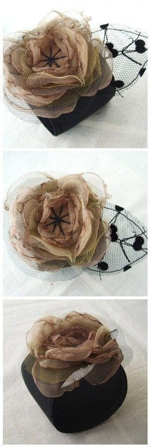 Taupe and Black  Organza Flower with Polka Dot by FairytaleFlower, $20.00