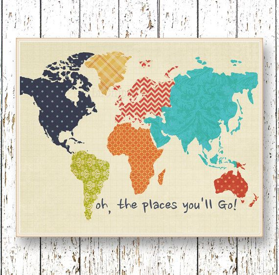 World map Wall art Oh, the Places youll Go! Dr Seuss Family Room playroom art Kids art navy blue orange yellow green artwork childrens    Print Kids