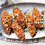 Twice-Baked Sweet Potatoes with Bacon and Goat Cheese Recipe | MyRecipes.com