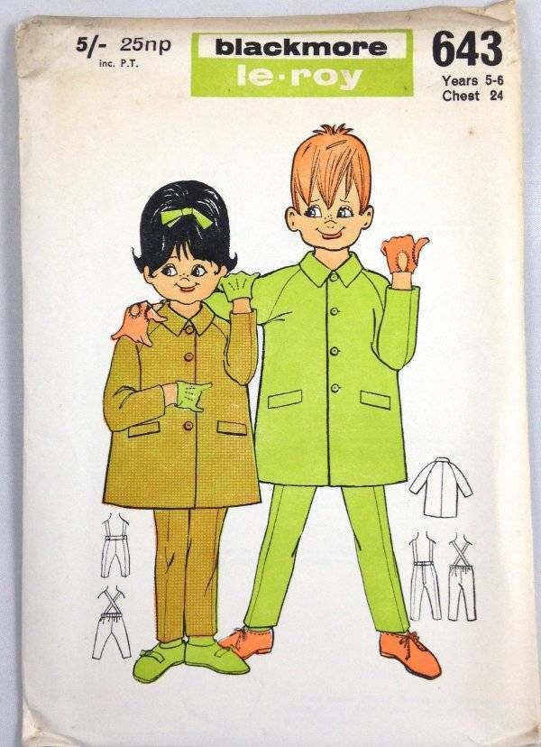 Vtg 60s 70s Blackmore LeRoy Sewing Uncut Pattern Coat Trousers 5-6 Yrs