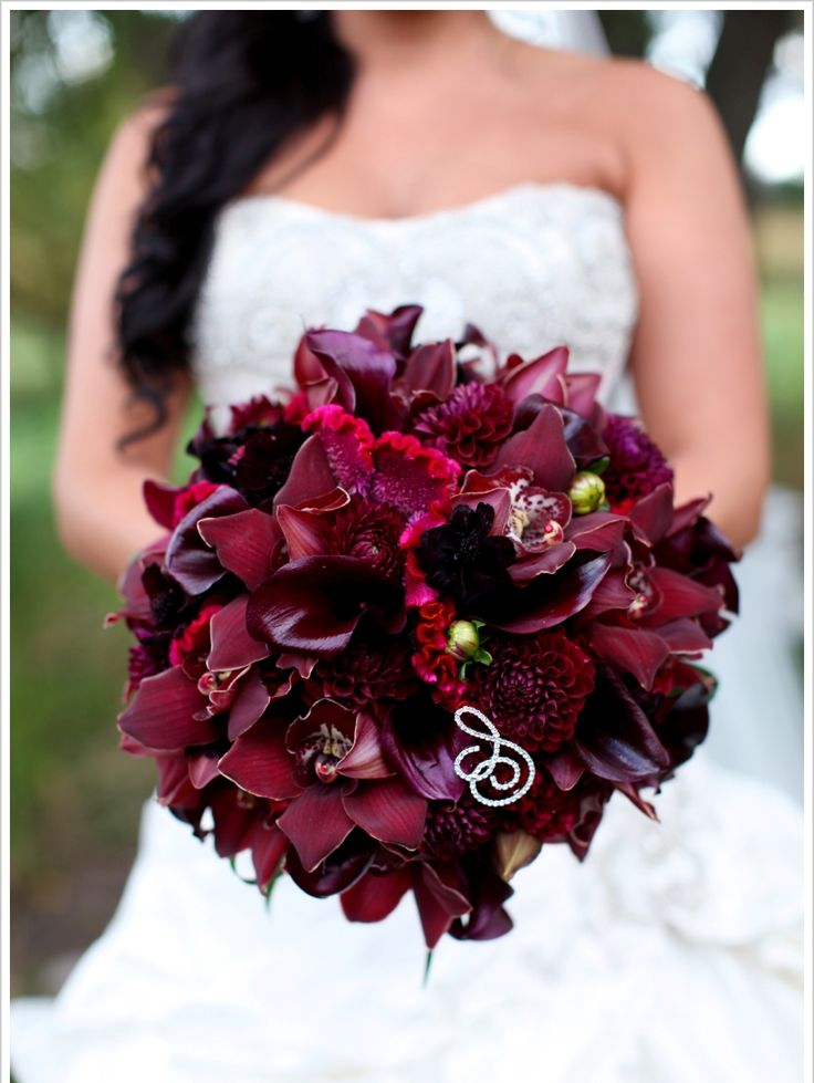 Dark Red Cymbidium Orchid Bride Bouquet With Crystal Initial Emblem Wedding Flowers Bouquet