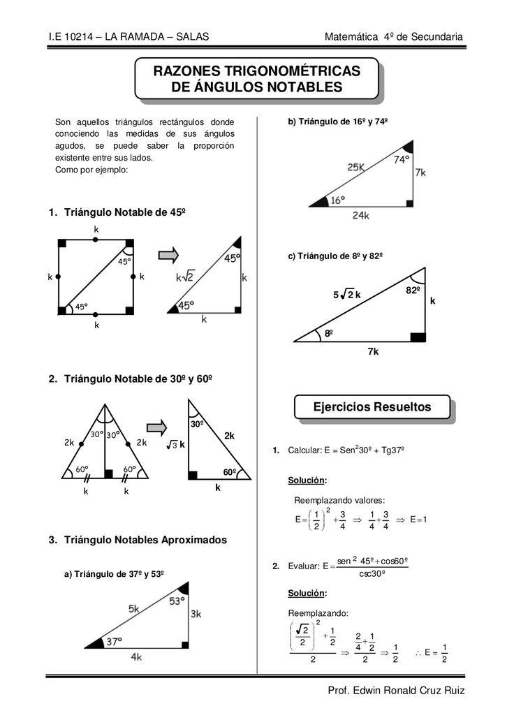 Razones trigonometricas de angulos notables by EDWIN RONALD CRUZ RUIZ via slideshare