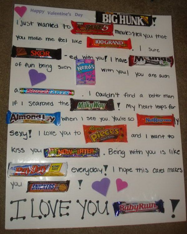 DIY Candy Bar Valentines Card, http://hative.com/candy-bar-poster-ideas-with-clever-sayings/