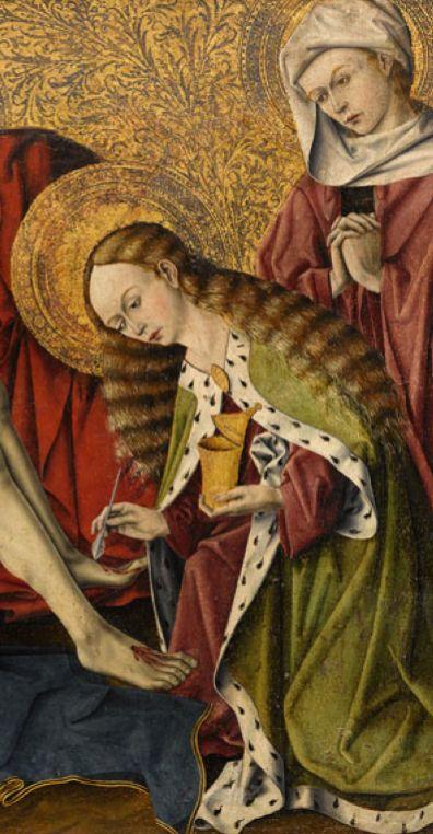 Pietà de Tarascon, before 1454, detail St. Mary Magdalene, Provence, France.