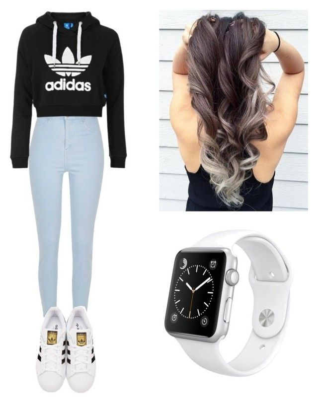 """""""School outfit"""" by mikayla714 on Polyvore featuring River Island, Topshop, adidas Originals and Apple"""