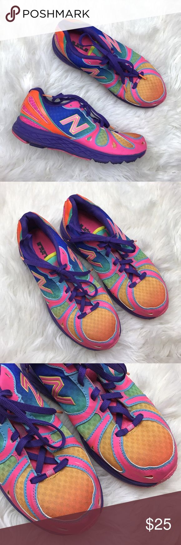 New Balance 890v3 Rainbow Running Sneakers KJ890GRG - This pair is labeled girls size 6.5 which is comparable to women's size 8.  Youth US 6.5, UK 6, Eu 39. Great condition. Minor markings on pink, light wear on bottom sole. New Balance Shoes Athletic Shoes