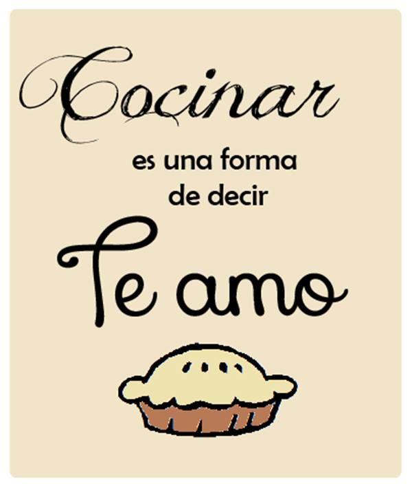 """""""Cocinar es una forma de decir: Te amo."""" #cocinar #frases #lifestyle"""