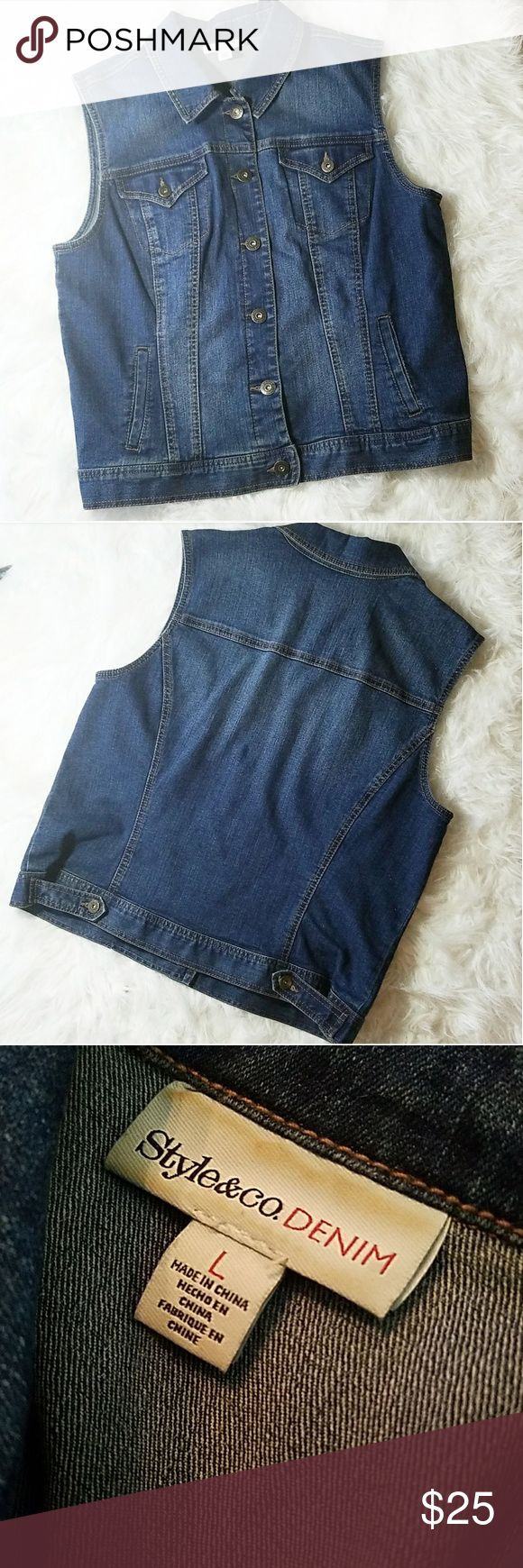 Style & Co Denim Vest Style and Co. Denim Vest in like new conditon. It is adjustable in the back! I offer bundle discounts if you would like any other items in my closet! Style & Co Jackets & Coats Vests