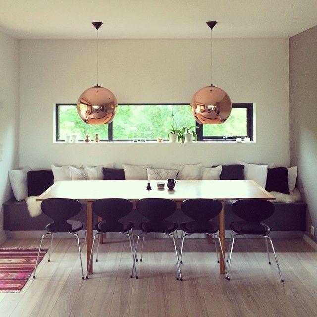 kitchen and diningroom #myhome #tomdixon #fritzhansen #danishdesign #hth #sittebenk #kjøkken #spisestue #interiordesign #wood #modern #interiør #arkitektur #home #decoration #coppershade #scandinaviandesign