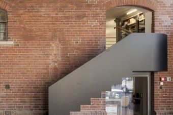 Love this metal curve and stair.