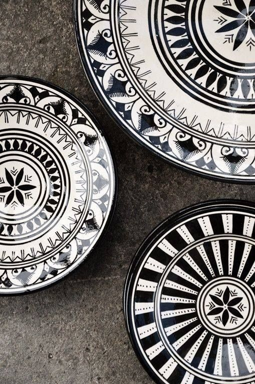 black and white decorated plates