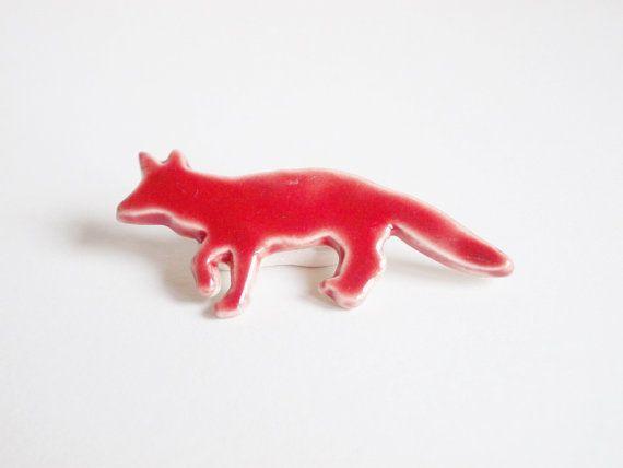 Red fox ceramic brooch. Porcelain animal by CherishCeramics