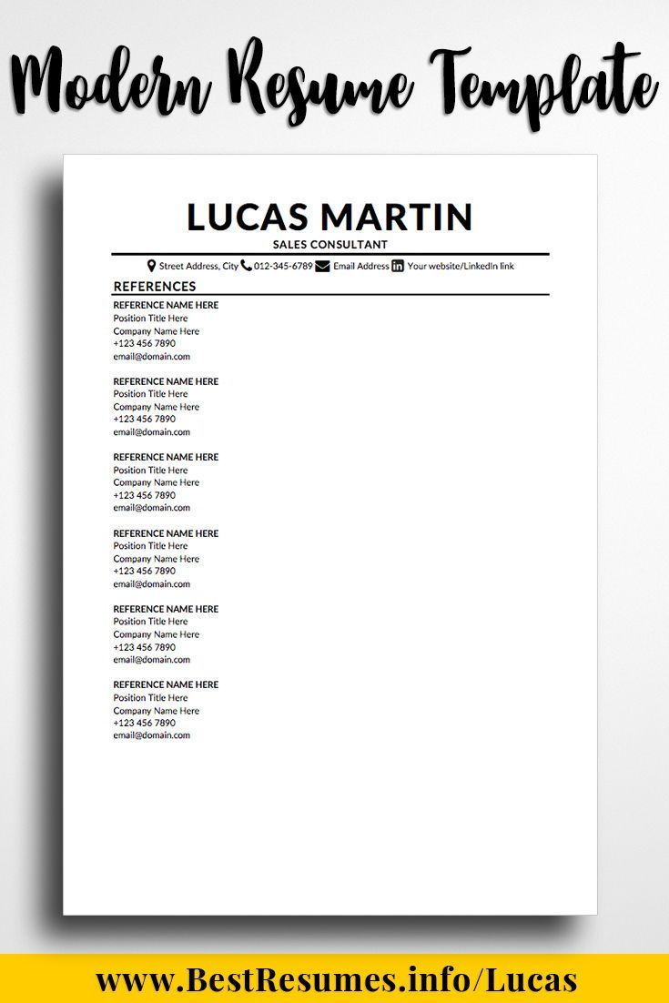 Modern Resume Template Lucas Martin Reference Page For Resume