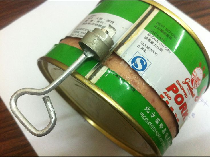 Tin cans where you needed a 'key' that was attached to the bottom to open it up