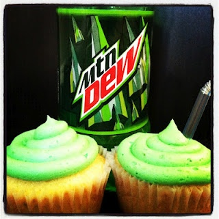 Mountain Dew cupcakes, with Mountain Dew buttercream frosting.