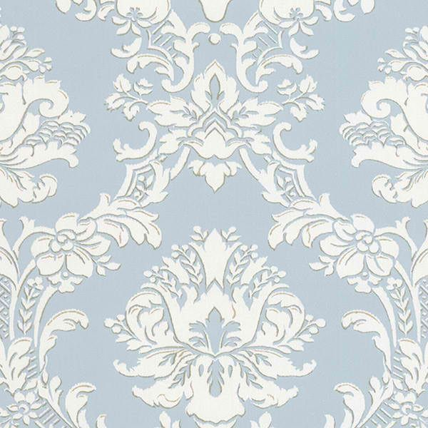 Light Blue SD25646 Classic Damask Wallpaper - Contemporary Modern