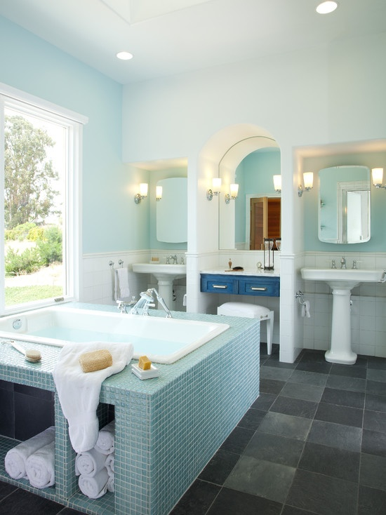 "Bathtub under storage tiling, vanity couple sinks.""  ""Cool idea for a bathtub surround. Mp""  ""Love this bathtub and the""  ""bathtub, sinks, tile color""  ""love the square bathtub""  ""Bathtub Tlile"""
