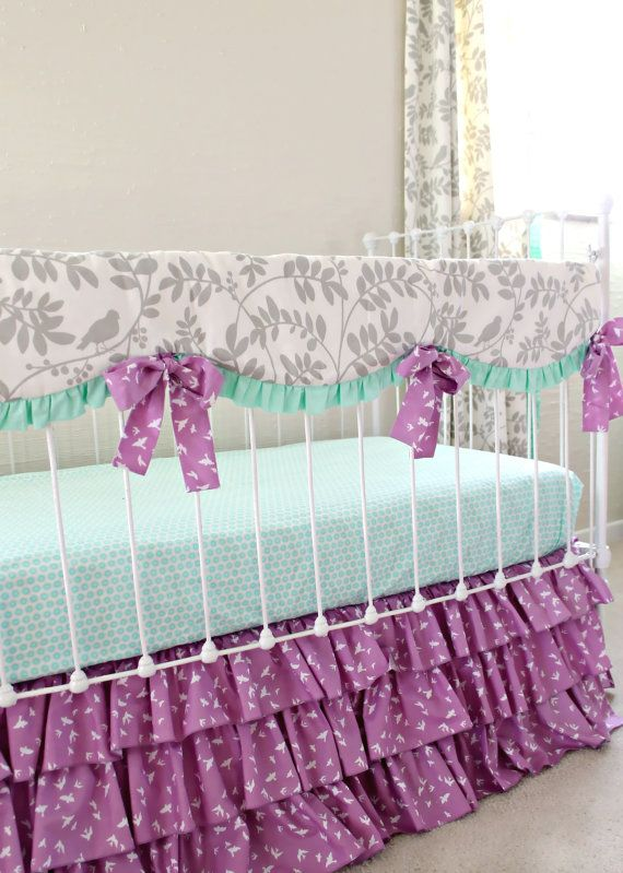 New! Mint Purple Gray modern crib bedding set.  3 piece set includes:  Teething Rail Cover Fitted Crib Sheet 3 tier ruffle crib skirt in purple bird print (16 long/3sided)  Additional pieces can be added such as  Ruffle trim border blanket with minky backing $80 Ruffle rosette or Ruffle Waterfall pillows $60  Also shown in photo are matching curtain panels. Please convo for pricing.  See separate listings for mint ruffle skirt version.  This set is made to order and our turnaround time i...