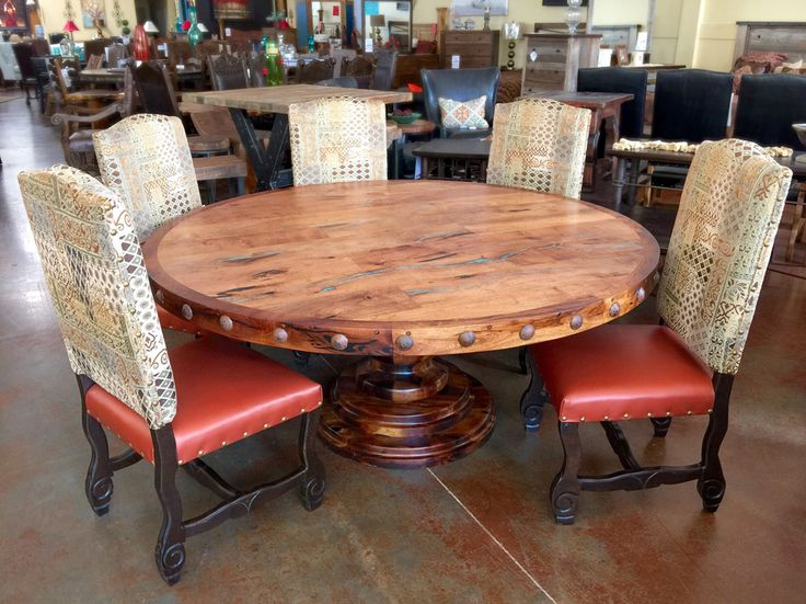 round mesquite wood dining table with turquoise inlay custom wood furniture phoenix wood furniture - Dining Room Furniture Phoenix