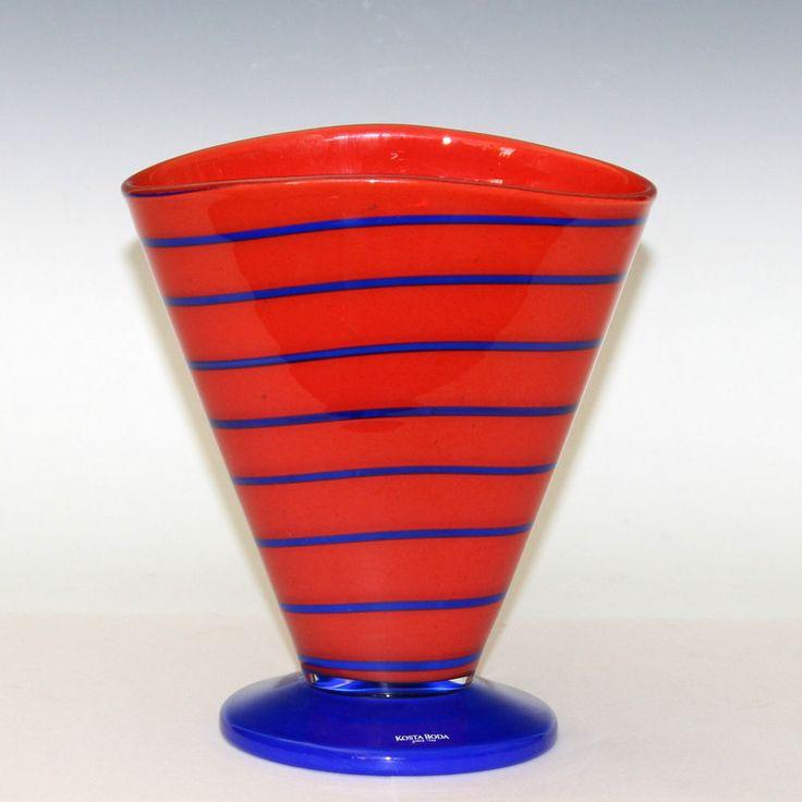 Vintage Kosta Boda Anna Ehrner Blue Swirl On Red Swedish