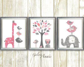 Bebé habitación decoración gris rosa vivero niños pared art niña vivero Decor elefante vivero arte jirafa casa decoración de niña - Set de 3 láminas