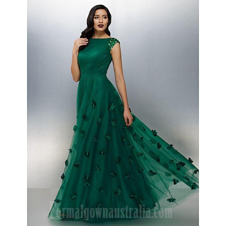 Australia Formal Evening Dress Dark Green Plus Sizes Dresses Petite A-line Bateau Long Floor-length Tulle Dress Formal Dress Australia #formaldresses #greenformaldresses #greendresses
