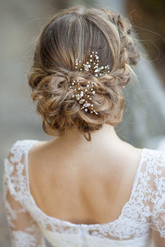 Bridal hair pins |Wedding hair pins | Pearl hair pins with rhinestones | Crystal hair pins