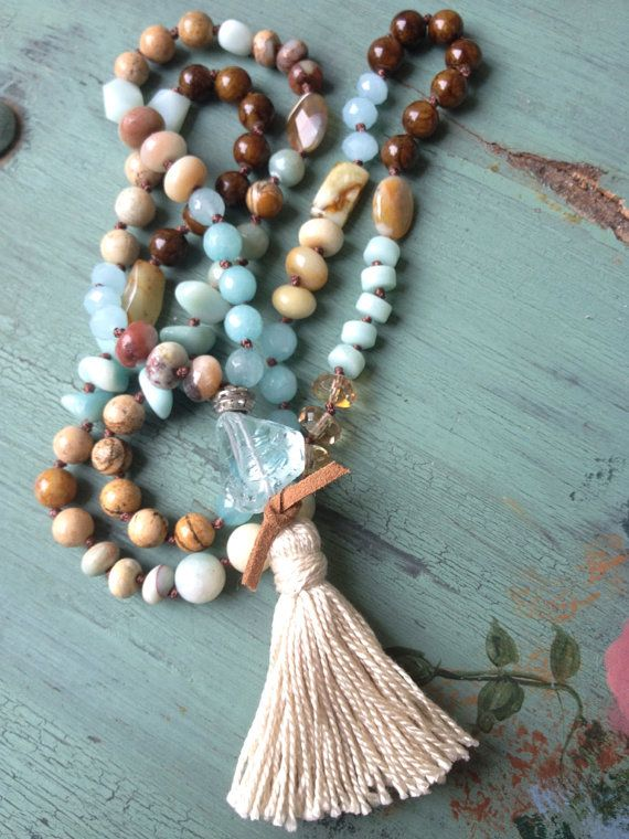 Bohemian glam blues natural earth tone mixed gemstone boho tassel long layering necklace by MarleeLovesRoxy on Etsy, $89.00
