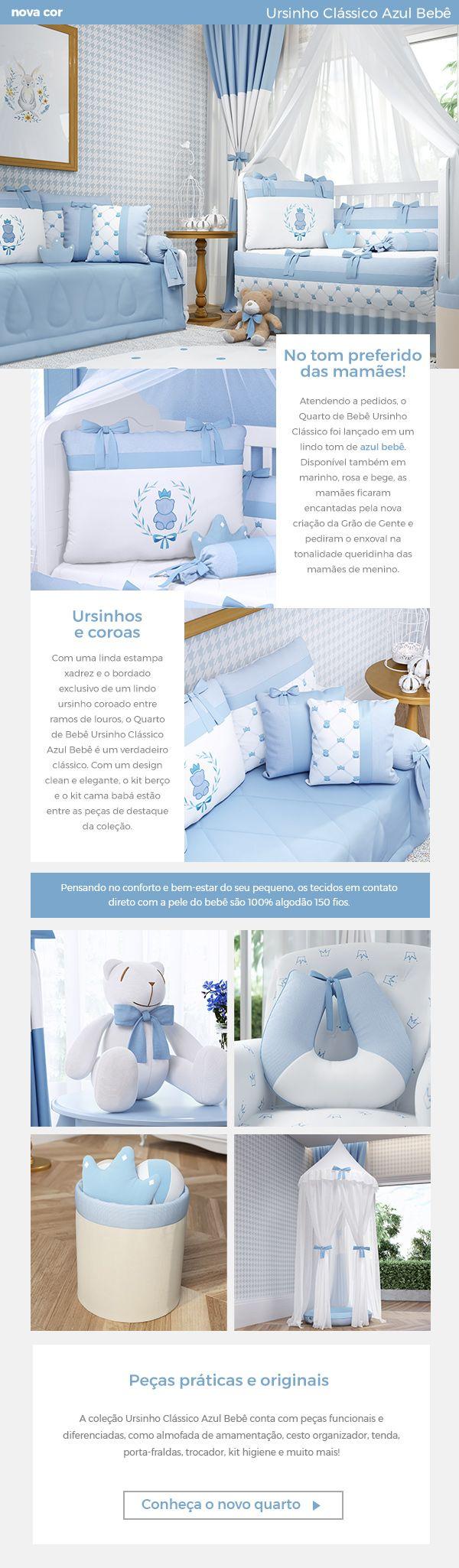A coleção Ursinho Clássico Azul Bebê chegou para conquistar as mamães e papais que não abrem mão do estilo clássico na decoração do quarto de bebê! O cantinho dos sonhos para seu menino traz uma decoração de quarto de bebê azul claro de um jeito inovador super elegante!