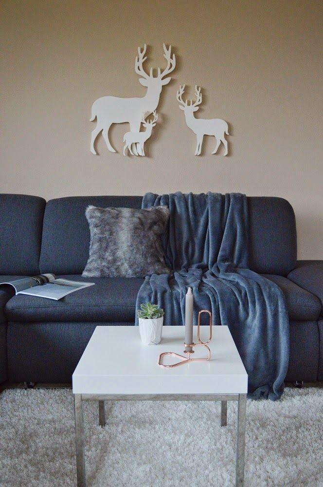 nappali, living room, reindeer, zara home pillow, blanket, hay lup candle holder, ikea, grey, brown