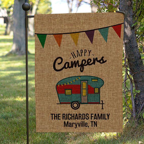 Personalized Happy Camper Burlap Garden Flag camping garden