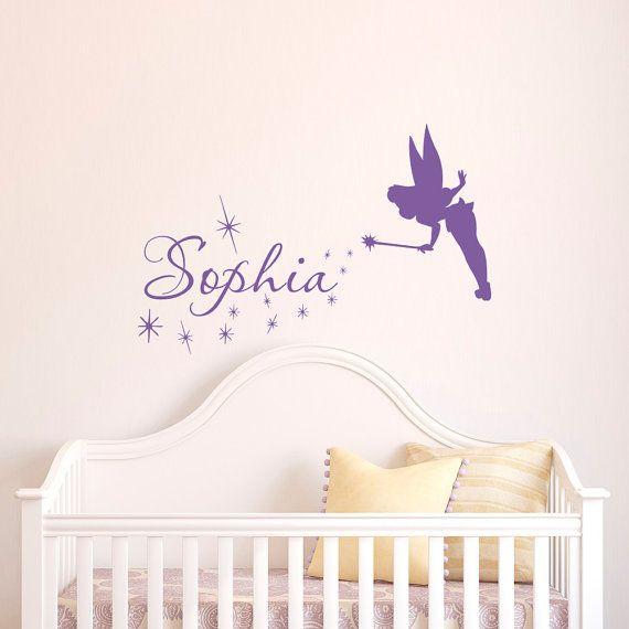 Naam muur Decal meisje Tinkerbell Fairy silhouet door FabWallDecals