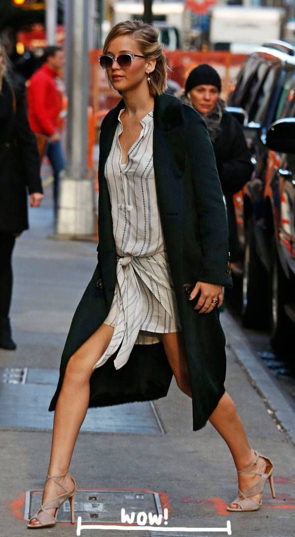 How The Heck Does Jennifer Lawrence Take Steps This Wide?? She Must Be VERY Eager To Get On Good Morning America!!