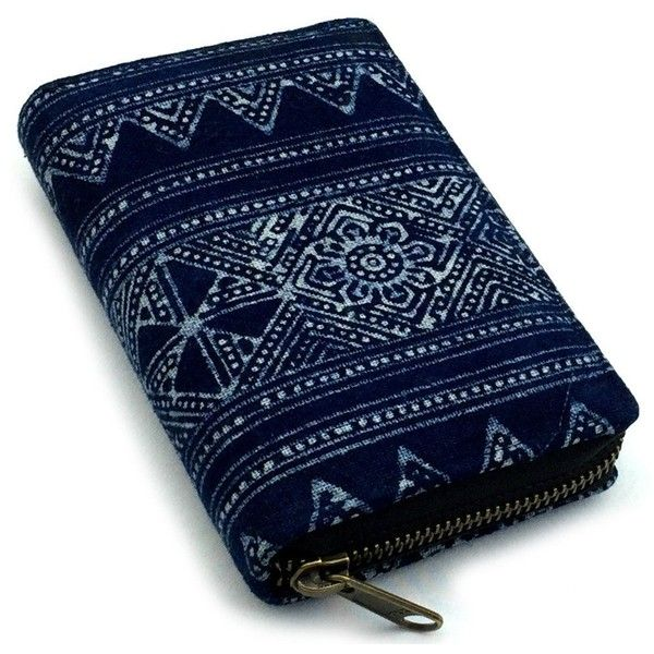 Indigo Short wallet ($21) ❤ liked on Polyvore featuring bags, wallets, blue bag, blue wallet, aztec wallet, aztec bag and canvas wallet